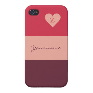 Valentine Heart custom monogram cases Case For The iPhone 4
