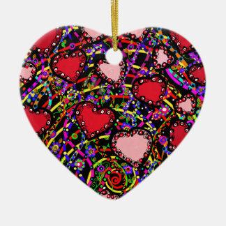 Valentine Heart Designs Ceramic Ornament