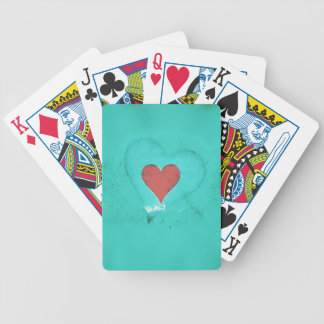 Valentine heart on a green grunge background bicycle playing cards
