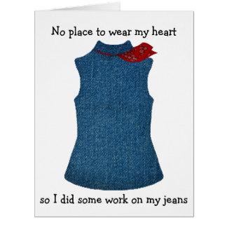 Valentine Heart on Jeans Pocket Card