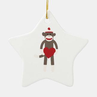 Valentine Heart Sock Monkey Ceramic Star Ornament