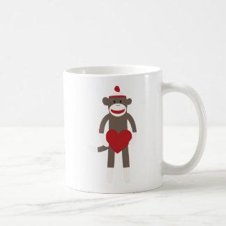 Valentine Heart Sock Monkey Classic White Coffee Mug