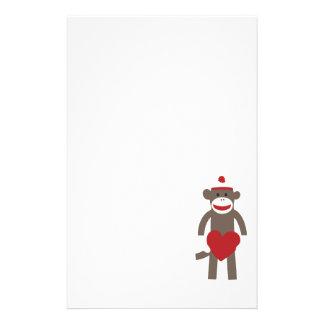 Valentine Heart Sock Monkey Custom Stationery
