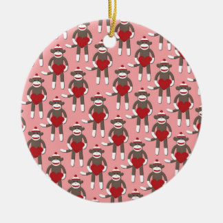 Valentine Heart Sock Monkey Print Round Ceramic Ornament