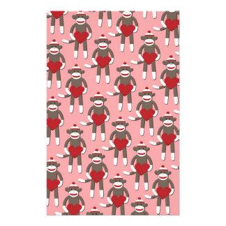 Valentine Heart Sock Monkey Print Stationery Paper