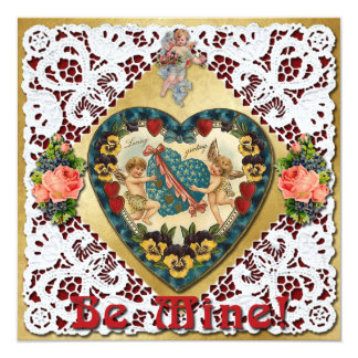 Valentine Heart with Lace - Vintage Victorian Card