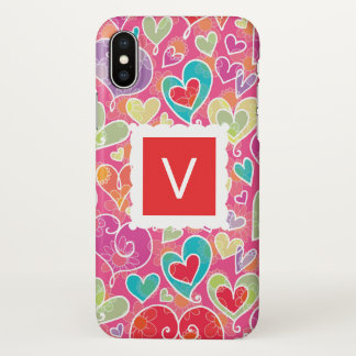 Valentine Hearts and Flowers Monogram iPhone X Case