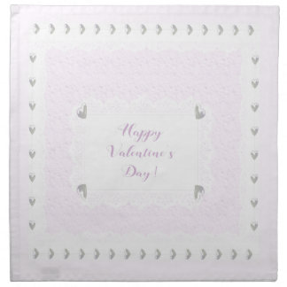 Valentine Hearts and Lace, Pastel Pink and White Napkin