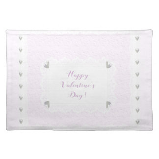 Valentine Hearts and Lace, Pastel Pink and White Placemat