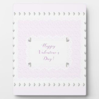 Valentine Hearts and Lace, Pastel Pink and White Plaque