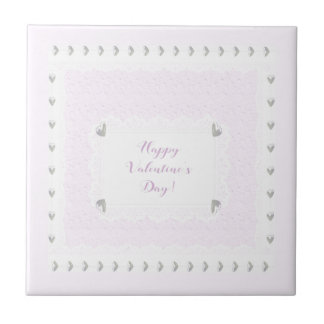 Valentine Hearts and Lace, Pastel Pink and White Tile