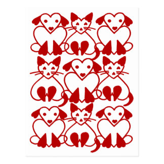 Valentine Hearts Cats & Dogs Pink Red Pet Postcard