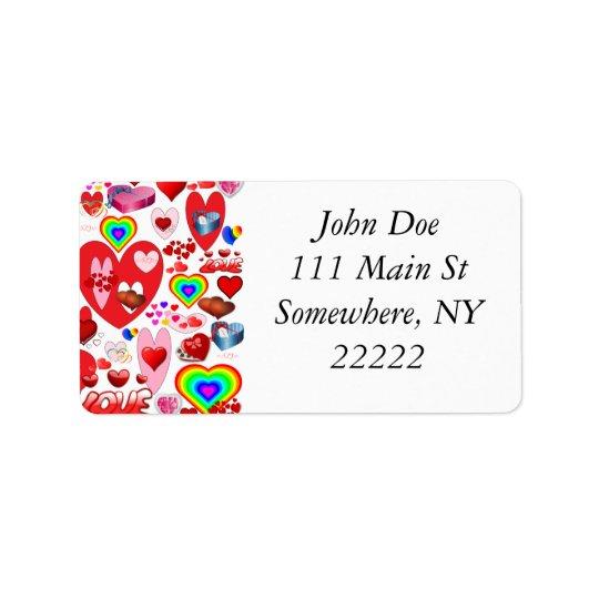 Valentine Hearts Collage Label
