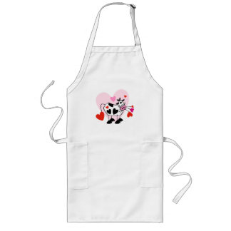 Valentine Hearts Cow Long Apron