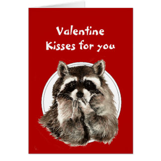 Valentine Hearts for Friend Raccoon Blowing Kisses Card