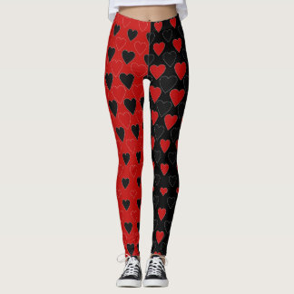 Valentine Hearts in Red and Black Leggings