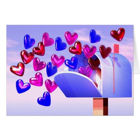Valentine Hearts Mailbox Card
