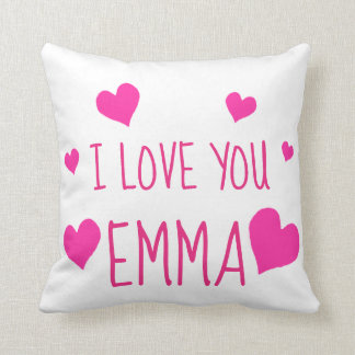 Valentine Hearts Personalized I Love You Throw Pillow