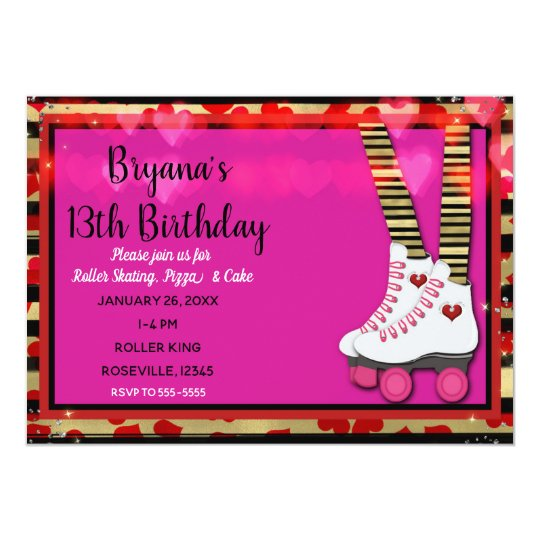 Valentine Hearts Roller Skating Birthday Party Card