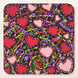 Valentine Hearts Square Paper Coaster