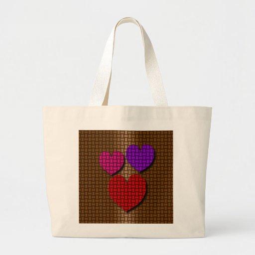 Valentine Hearts Weave Canvas Bag
