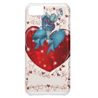 Valentine Hippo dancing on heart iPhone 5C Case