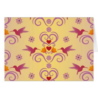 Valentine Hummingbirds And Hearts Card