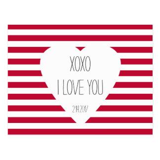 Valentine I Love You XOXO Love Theme Custom Text Postcard