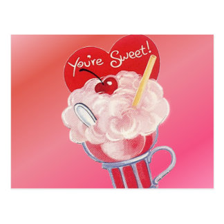 Valentine Ice Cream Soda Postcard