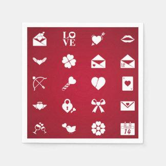 Valentine icons paper napkin