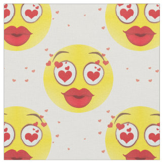 Valentine kiss Emoji fabric