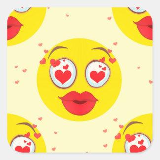 Valentine kiss Emoji Square Sticker