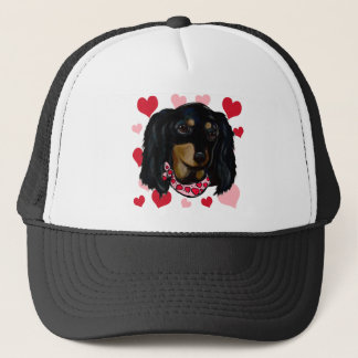Valentine Long Haired Black Doxie Trucker Hat