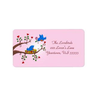 Valentine Love Birds Label