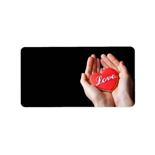 Valentine Love Heart Cookie In Woman Hands Label