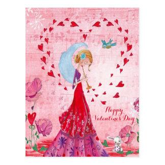 Valentine Love Music Girl   Postcard