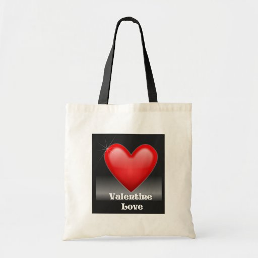 Valentine Love Red Heart Tote Bag