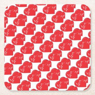 -Valentine-Love you 2- Red Hearts Square Paper Coaster