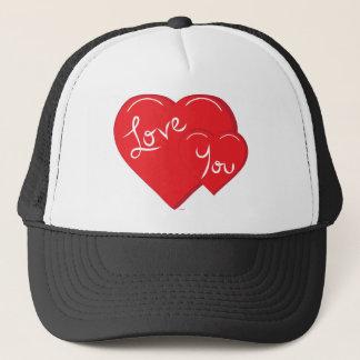 -Valentine-Love you 2- Red Hearts Trucker Hat
