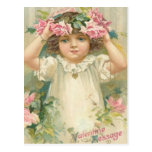Valentine Message Girl With Flowers Cards, Gifts Post Card