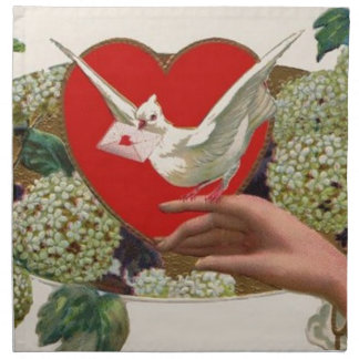 Valentine Message With Heart And Dove Printed Napkins