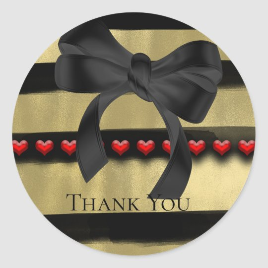Valentine Modern Black Bow Gold Paint Party Favour Classic Round Sticker