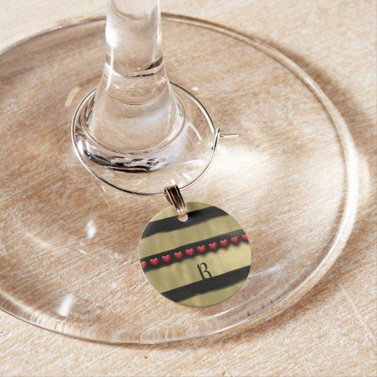 Valentine Modern Black Gold Paint Brush Stroke Wine Charm