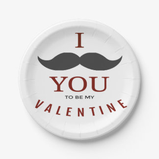 Valentine Mustache Gifts Paper Plate