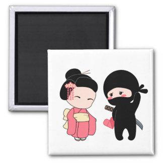 Valentine Ninja and Geisha Magnet