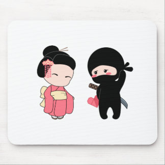 Valentine Ninja and Geisha Mouse Pad