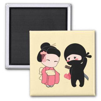 Valentine Ninja and Geisha on Yellow Magnet