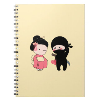 Valentine Ninja and Geisha On Yellow Notebook