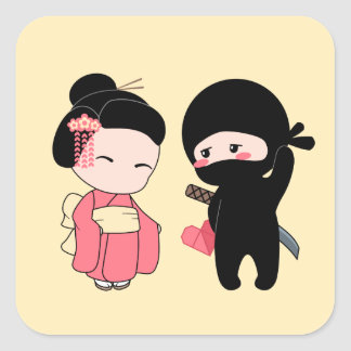 Valentine Ninja and Geisha on Yellow Square Sticker
