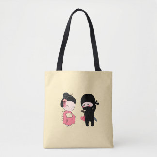 Valentine Ninja and Geisha on Yellow Tote Bag